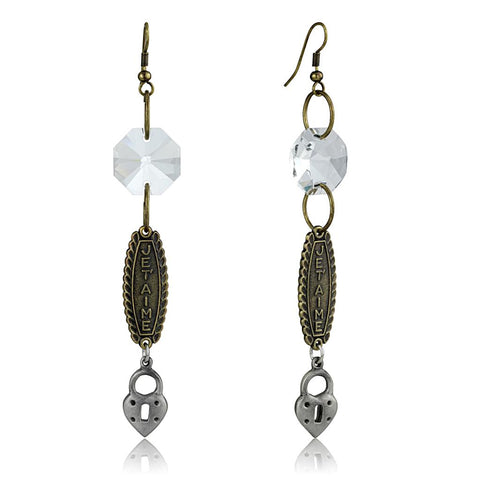 LO3801 Gold+Antique Silver White Metal Earrings with Synthetic in Clear