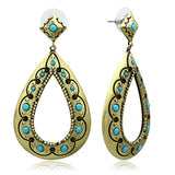 LO3850 Antique Copper Brass Earrings with Top Grade Crystal in Turquoise