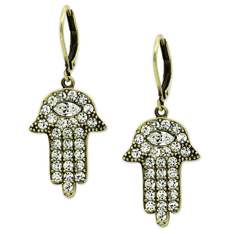 LO3853 Antique Copper Brass Earrings with Top Grade Crystal in Clear