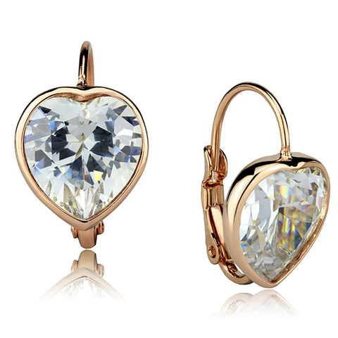 LO3872 Rose Gold Brass Earrings with AAA Grade CZ in Clear