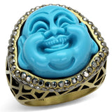 LO3884 Antique Copper Brass Ring with Synthetic in Capri Blue