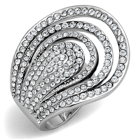 LO3914 Rhodium Brass Ring with Top Grade Crystal in Clear
