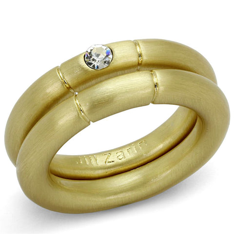 LO3918 Gold & Brush Brass Ring with Top Grade Crystal in Clear