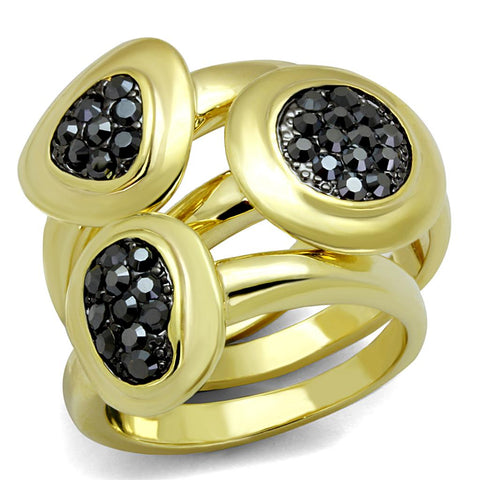 LO3927 Gold Brass Ring with Top Grade Crystal in Hematite