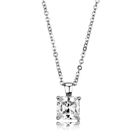 LO3931 Rhodium Brass Chain Pendant with AAA Grade CZ in Clear