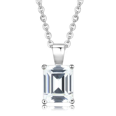 LO3934 Rhodium Brass Chain Pendant with AAA Grade CZ in Clear
