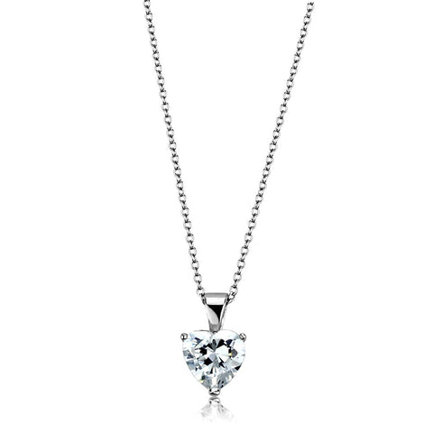 LO3936 Rhodium Brass Chain Pendant with AAA Grade CZ in Clear