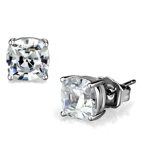 LO3948 Rhodium Brass Earrings with AAA Grade CZ in Clear