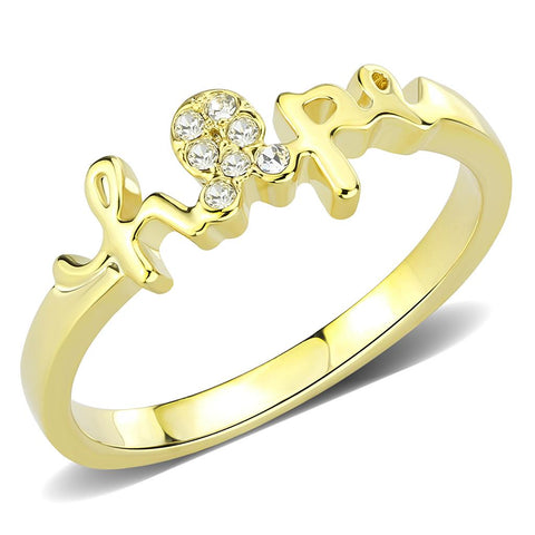 LO3965 Flash Gold Brass Ring with Top Grade Crystal in Clear