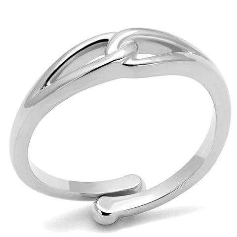 LO3992 Rhodium Brass Ring with No Stone in No Stone