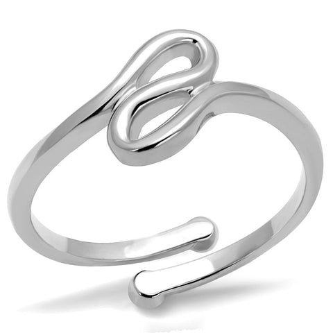 LO3999 Rhodium Brass Ring with No Stone in No Stone