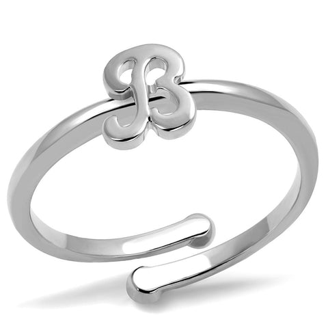 LO4025 Rhodium Brass Ring with No Stone in No Stone