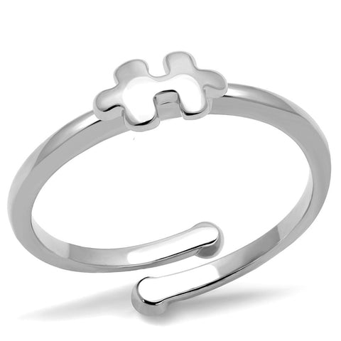 LO4027 Rhodium Brass Ring with No Stone in No Stone
