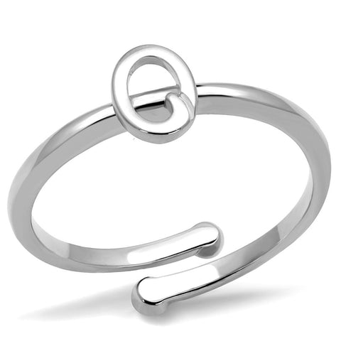 LO4035 Rhodium Brass Ring with No Stone in No Stone