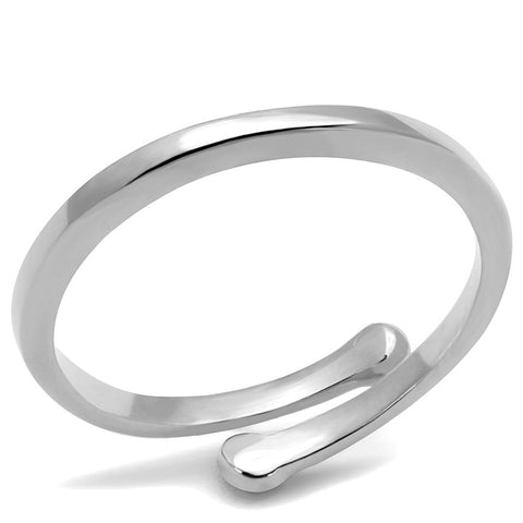 LO4039 Rhodium Brass Ring with No Stone in No Stone
