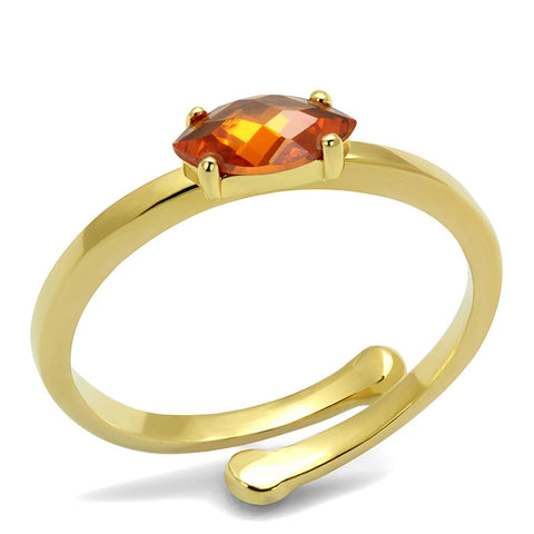 LO4065 Flash Gold Brass Ring with AAA Grade CZ in Orange