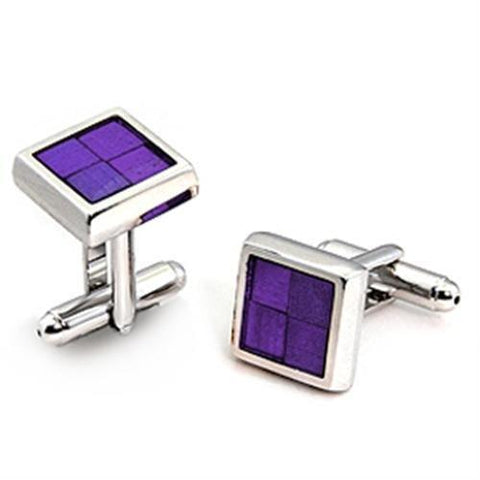 LO1189 Rhodium Brass Cufflink with Epoxy in Amethyst