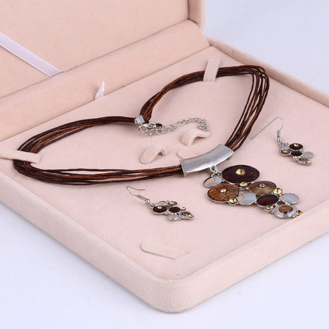 New Fashion Silver Geometric Multilayer  jewelry set.