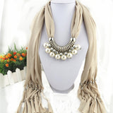 [RUNMEIFA]  Brand New Double Layer Pearl Pendant Scarves