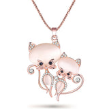 Bonsny Cat Necklace Long Pendant  Brand Crystal Chain New 2015 Zinc Alloy Girl