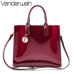 VANDERWAH Brand Glossy Big  High Quality Women's PU Leather Handbags Letter