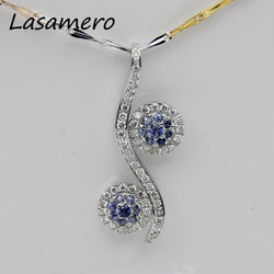 Halo 0.09CT 18k White Gold Natural Diamond  Pendant Necklace
