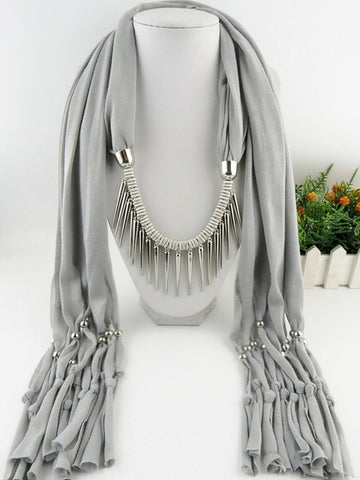 Spike Tassel Scarf Necklace pendants Scarves  autumn Women Necklace Scarf