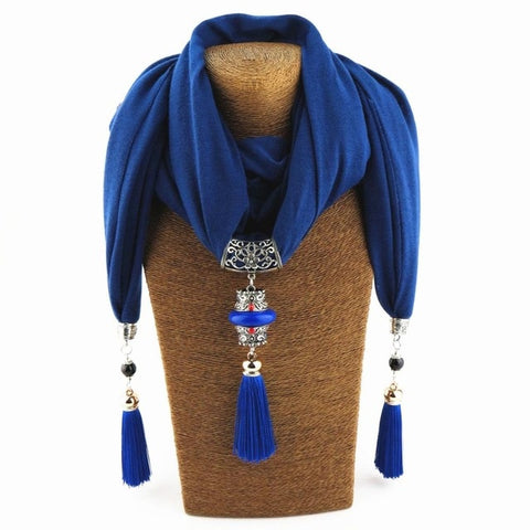 Fringe Scarf Jewelry Tassel Scarf Pendant Necklace women Alloy stone Long Pendant Necklace