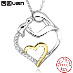 925 Sterling Silver Heart  Mom holds Child Pendant