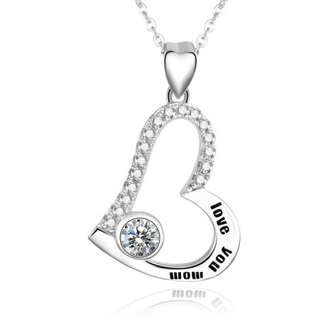 I Love You Mom Personalized Name Necklace 925 Sterling Silver Heart