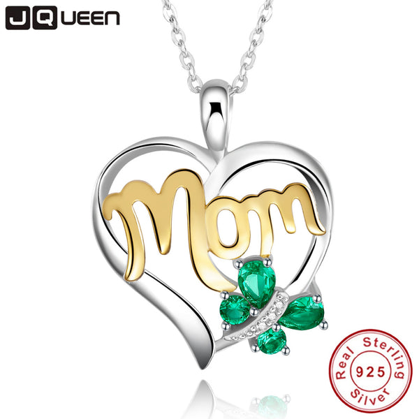 Mom Necklace 925 Sterling Silver Emerald Butterfly