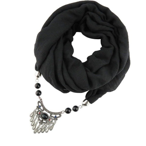 [RUNMEIFA]  Scarves WomenJewelry Alloy Necklaces Resin Pendant Ladies Shawl