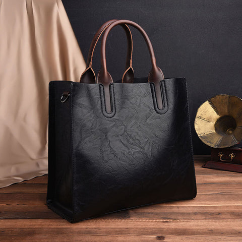 NEW Vintage OIL SKIN Leather Big Casual Tote women bags High Quality Women's Handbags Shoulder
