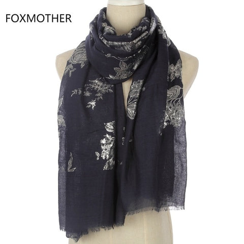 FOXMOTHER New Fashion  Floral Pattern Glitter Scarfs
