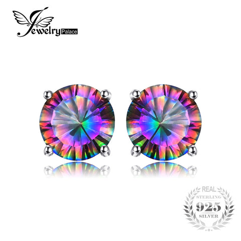 Natural Mystic Rainbow Topaz Earrings  Genuine Pure Solid 925 Sterling Silver