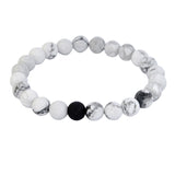 Natural lava stone Tiger eye White Black stone Healing Balance Beads bracelet