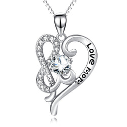 925 Sterling Silver Love Heart Cubic Zirconia Crystal Pendants Necklaces