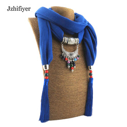 Jzhifiyer women jewelry pendant scarf tassel hijab necklace beads ring scarf