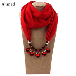 Ahmed Chiffon  Crystal Pendant Scarf Necklace