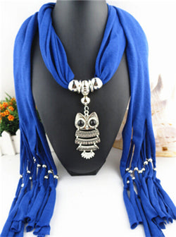 Women Scarf necklace with Silver Owl Pendant charm pendant
