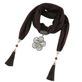 jersey cotton pendant foulard Jewelry necklace shawl plain