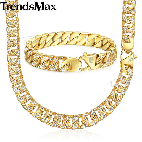 Trendsmax Jewelry Set Paved Rhinestones CZ Miami Cuban Chain Men's Stainless Steel Gold