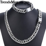Trendsmax Hip Hop Iced Out Paved Rhinestones Cuban Chain Men's Necklace Bracelet