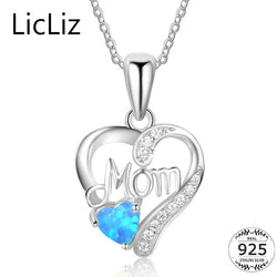 925 Sterling Silver Heart Pendant Necklace Women Blue Opal Mom Necklace