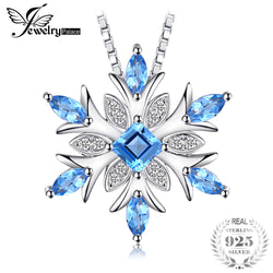 JewelryPalace Snowflake Genuine  Blue Topaz Solid 925 Sterling Silver, Chain not included