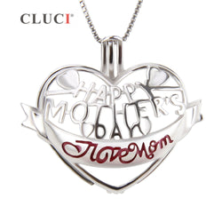CLUCI 925 sterling silver I love MOM pendant necklace locket HAPPY MOTHERS DAY