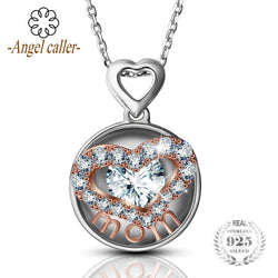 Angel Caller 925 Sterling Silver necklaces Love Heart Pendant Necklace mom