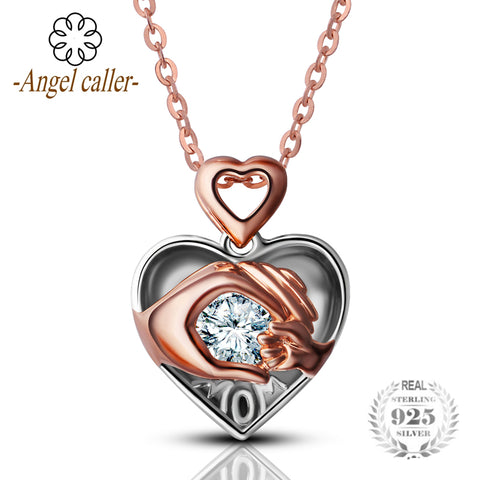 Angel Caller Mom Loves Baby Hand in Hand 925 Sterling Silver Zircon Charm Heart Necklace