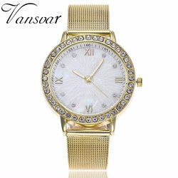 Vansvar Lxury Gold Watch Women Rhinestone Watch Ladies