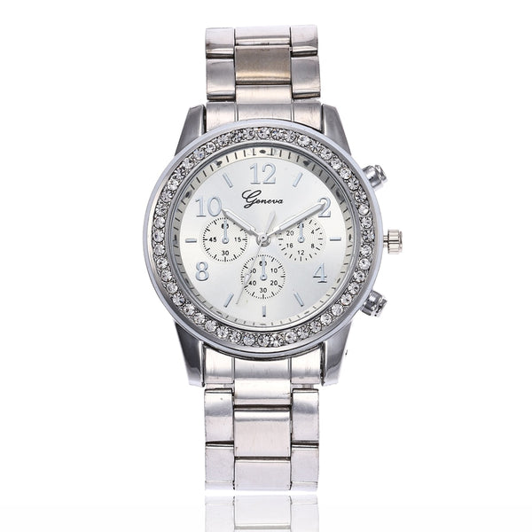 Women Rhinestone Watch Fashion Rose Gold & Silver Stainless Steel